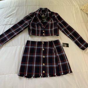Plaid Cropped Blazer & Skirt